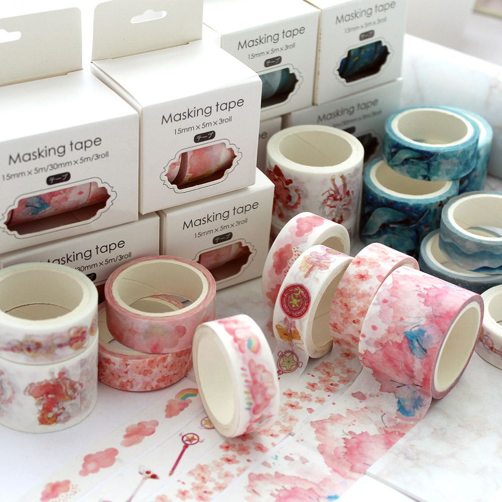 3pcs/set  Decorative Deco Paper Floral Flower Cherry Blossom Masking Washi Tape Set Stickers Crafts And Scrapbooking