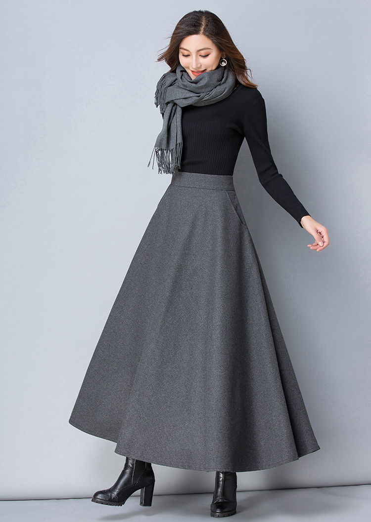 designer fashion in stock great look Winter Women Long Woolen Skirt Fashion High Waist Basic Wool ...