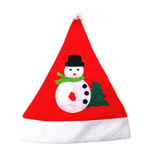 snowshine #1501 Applique Snowman Red Hat Cozy Soft Warm Adult Santa Headgear free shipping
