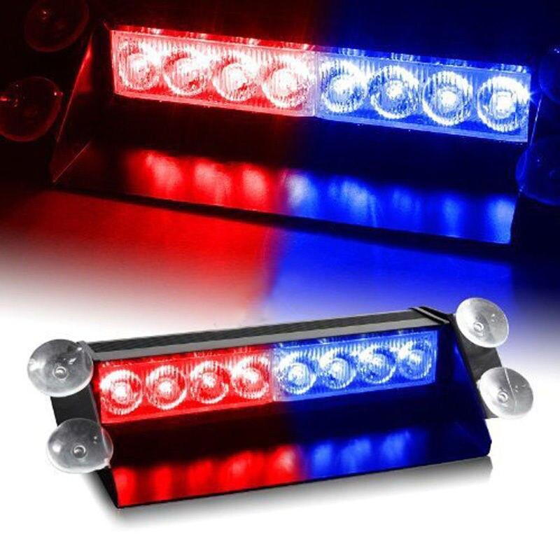 Red/Blue 3 Style Flashing Fog Lights Aluminum Shell 8-LED Car Dash Strobe Light Flash Emergency Police Warning Safety Lamp