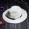 Moda 2017 Nuevas mujeres del Verano Plegable Grande Ancho Brim Elegante Correa Beach Sun Sombrero de Paja Casquillo de la Playa Para Damas niñas