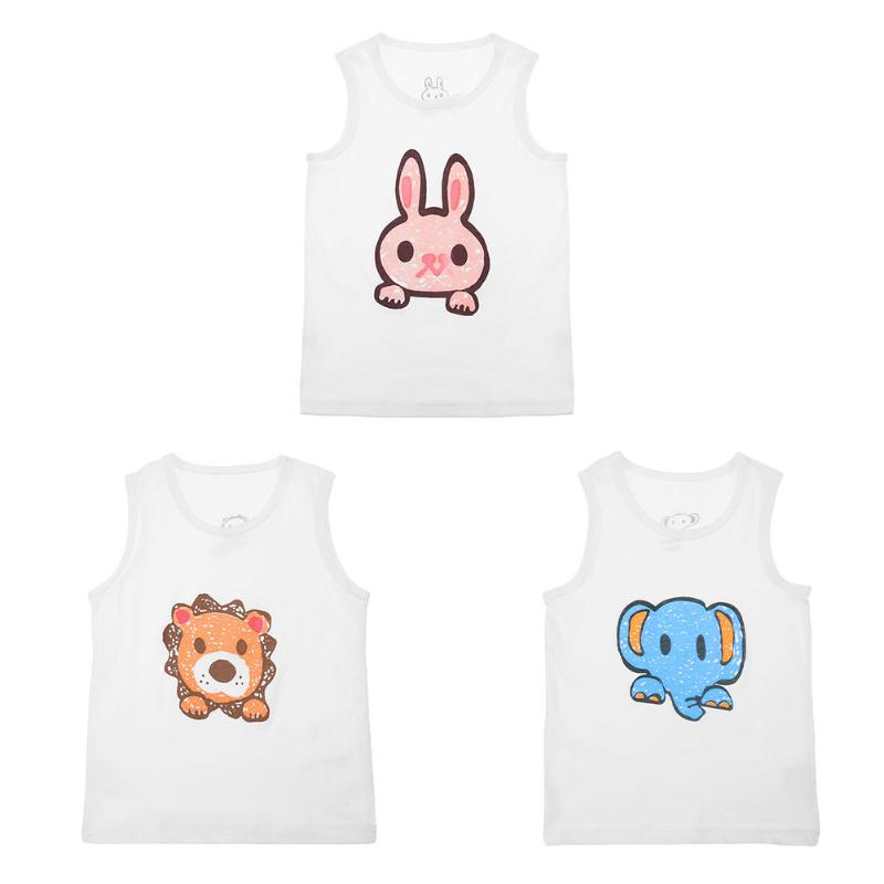 New Summer Baby Vest T-shirt Boy Girl Cartoon Animal Sleeveless Tees Undershirt  Cotton Baby Kids Vest Summer Baby Clothing