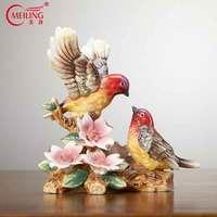 Antique Colorful Porcelain Bird Figurines Handpainted Ceramic Animal Miniature Statue Sculpture Pottery Home Decor Collectibles