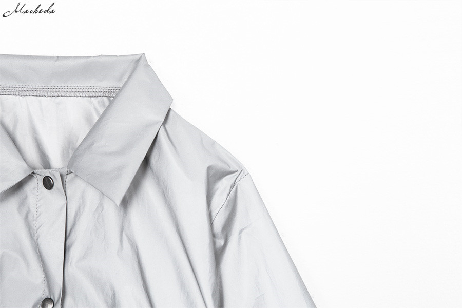 HTB1WSNRX6zuK1Rjy0Fpq6yEpFXaD Macheda Fashion Women Reflective Turn-down Collar Buckle Drawstring Jackets Long Sleeve Cropped Coat Ladies Basic Jacket Ne'w