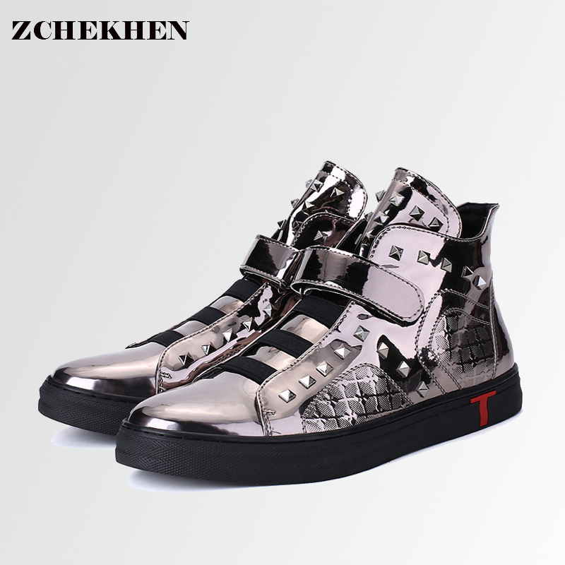 Casual shoes patent leather gold metal color high top kanye west rivet boots quality hip hop sneakers zapatillas hombre #40 valstone 2018 men leather casual shoes hip hop gold fashion sneakers silver microfiber high tops male vulcanized shoes sizes 46