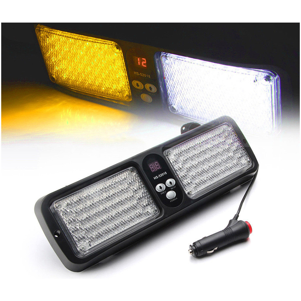 CYAN SOIL BAY 1pc Amber & White 86 LED Emergency Warning Harzard Visor Strobe Flash Light Lamp