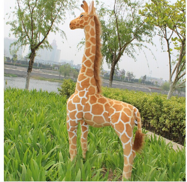 plush simulation giraffe toy lovely standing doll soft giraffe doll birthday gift about 95cm 0462 stuffed animal 120cm simulation giraffe plush toy doll high quality gift present w1161