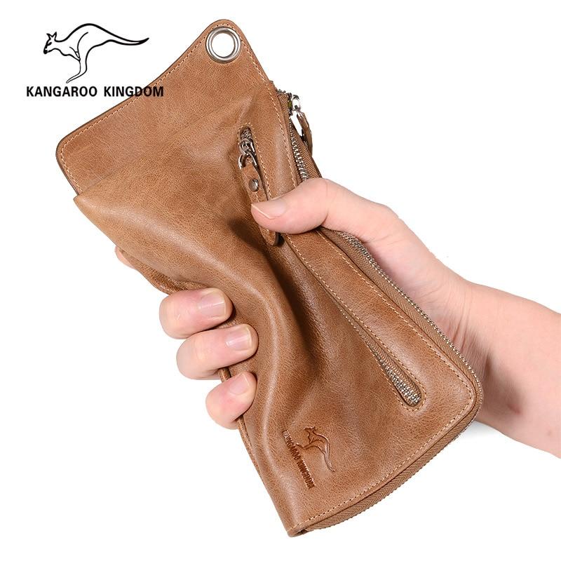 KANGAROO KINGDOM vintage genuine leather women wallets long clutch purse credit card holder purse одежда из кожи china kangaroo long 10010