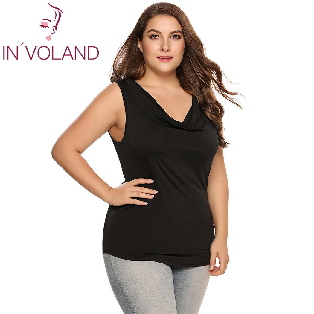 07e27698eb154 INVOLAND Women Tank Tops Plus Size L-4XL Scoop Neck Solid Casual Cotton  Large Sleepwear Pullovers ...