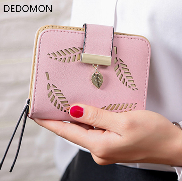 Fashion Women's Purse Short Zipper Wallet Women Leather 2018 Luxury Brand Small Women Wallets Clutch Bag With Hollow Out Leaves