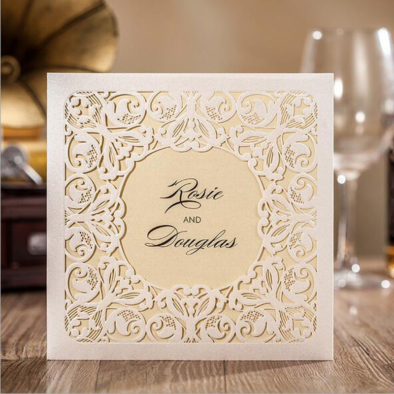 1pcs sample white hollow laser cut wedding invitations card 1pcs sample white hollow laser cut wedding invitations card personalized custom printable with ribbon envelope seals in cards invitations from home stopboris Choice Image