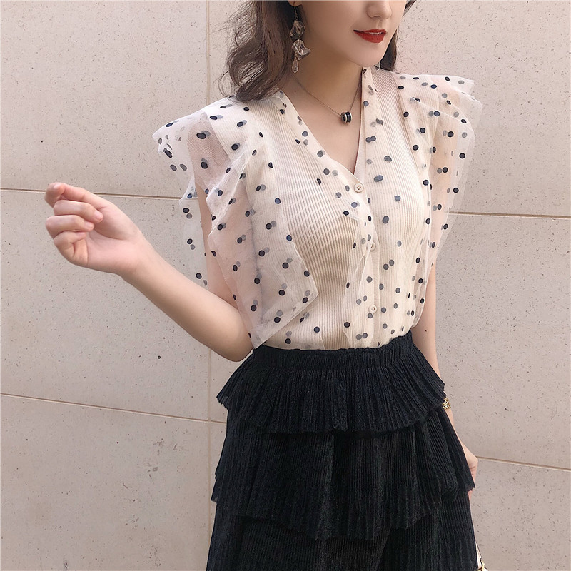 Sweet Summer New Women Retro   Tops   Polka Dot Lace Knit Vest V Neck Sleeveless Shirts Ice Silk Slim Short Lace   Top   Ruffled   Tanks