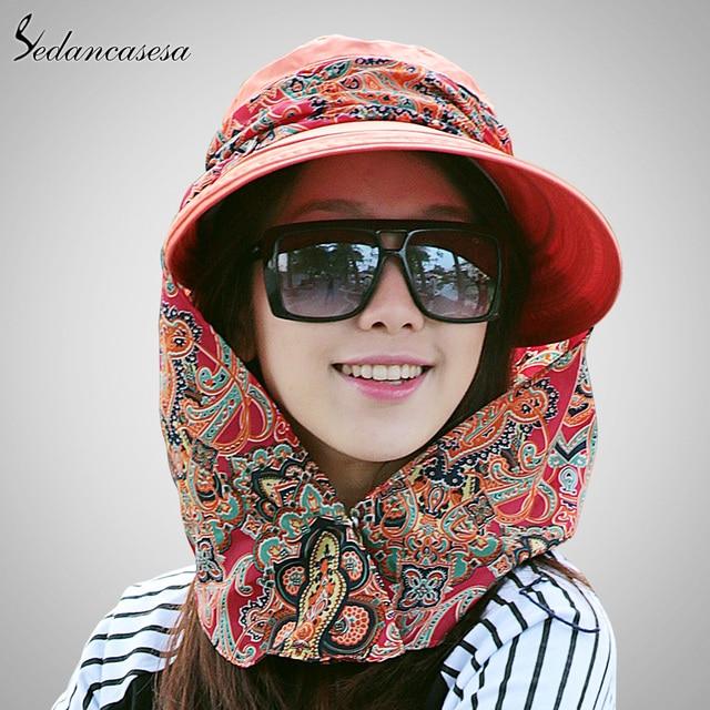 Sedancasesa fashion face protection sun sombreros para las mujeres anti-ultravioleta de ala ancha sombrero de verano plegable ajustable mujeres sombrero de verano 014192