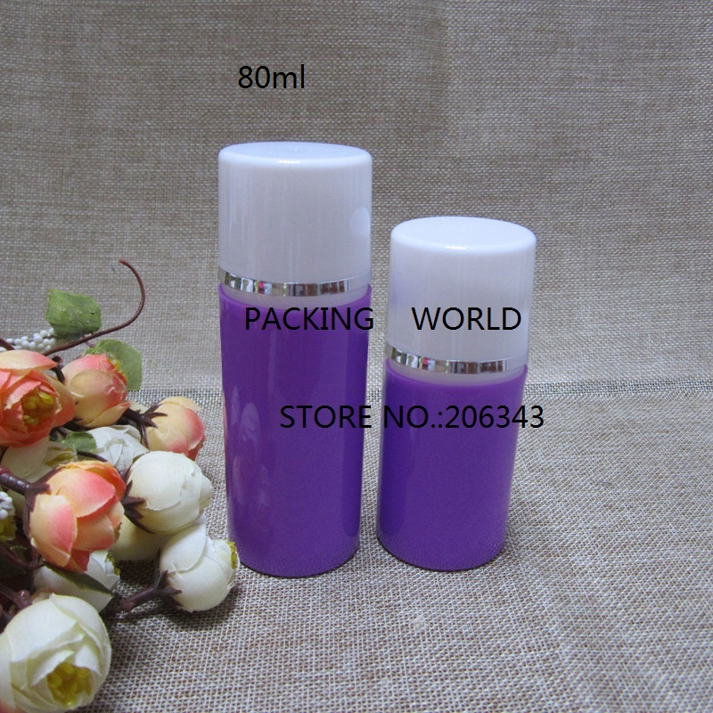 80ml Purple Plastic Airless Bottle With White Pump Silver