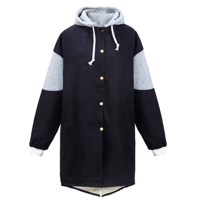 Women Coat Winter Ladies Lamb Wool Students Hooded Cotton Jacket BF Thick Plus Size Loose Long Cotton-Padded Jacket Coats Female