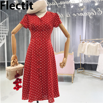 Flectit Vintage 80s Dress French Style Polka Dot Button Up Midi Dress Short Puff Sleeve High Waisted Retro Holiday Dress Women