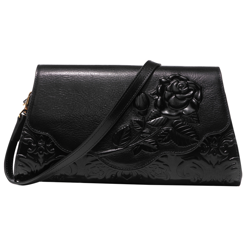 Vintage Celebrity Banquet Clutches Clutch Wallet Rose Embossing Genuine Leather Handbag Long Purse Woman's Shoulder Bag Wristlet vintage serpentine genuine leather woman clutches evening bag crossbody chain shoulder bag handbag clutch wallet lady long purse