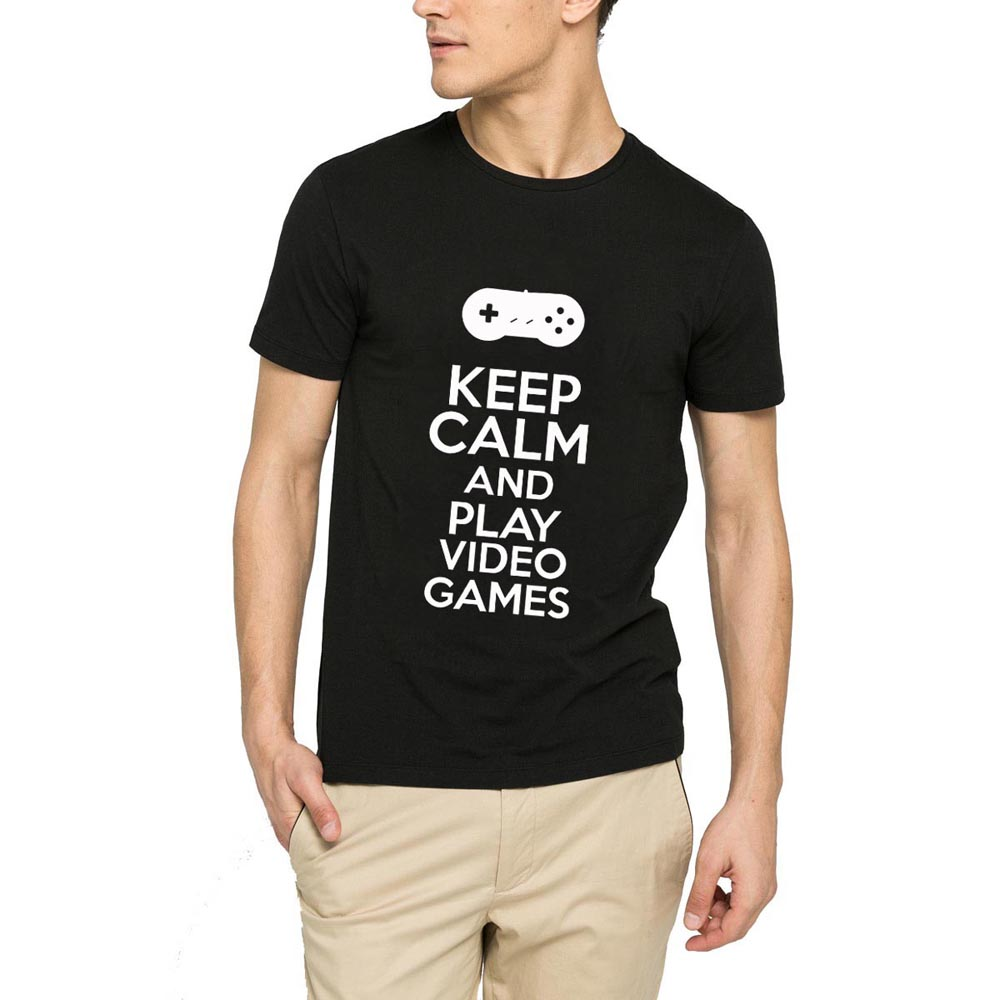 Loo Show Keep Calm And Play Video Games Grey Short Sleeve Funny Cotton T-Shirt Men Casual Tee