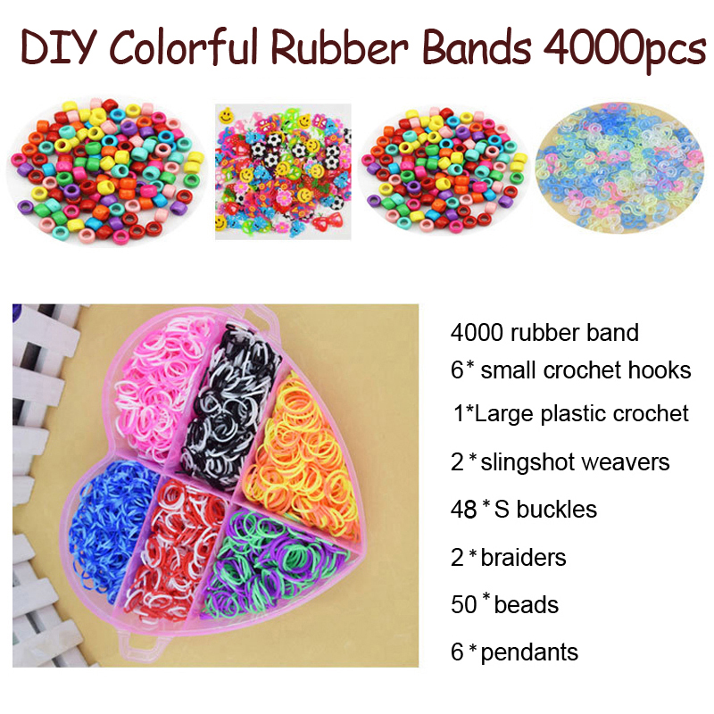 DOLLRYGA Colorful Loom Bracelet Rubber Bands Kits 4000pcs Art And Craft Toys With Kits Creative DIY Weaving Loom Gift For Kids