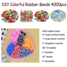 DOLLRYGA Colorful Loom Bracelet Rubber Bands Kits 4000pcs Art And Craft Toys With Kits Creative DIY Weaving Loom Gift For Kids браслет цепь brand new 50set diy fedex loom bands