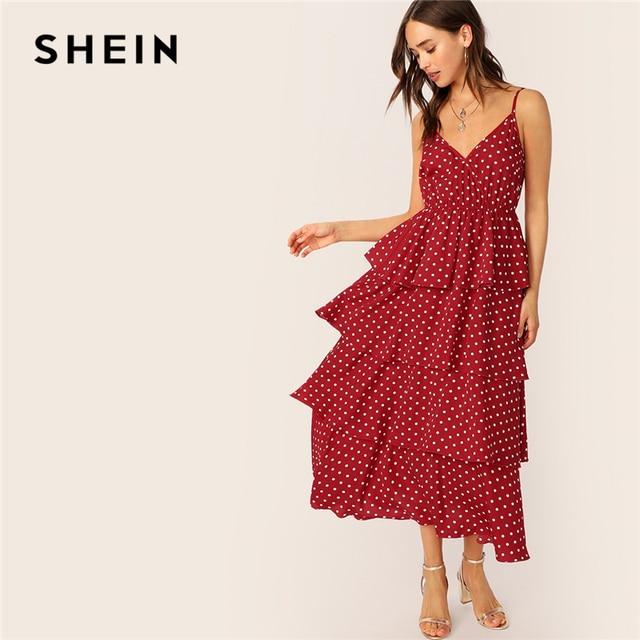 SHEIN Surplice Neck Layered Ruffle Cami Dress Women 2019 Summer Burgundy Spaghetti Strap Fit and Flare Long Slip Dresses