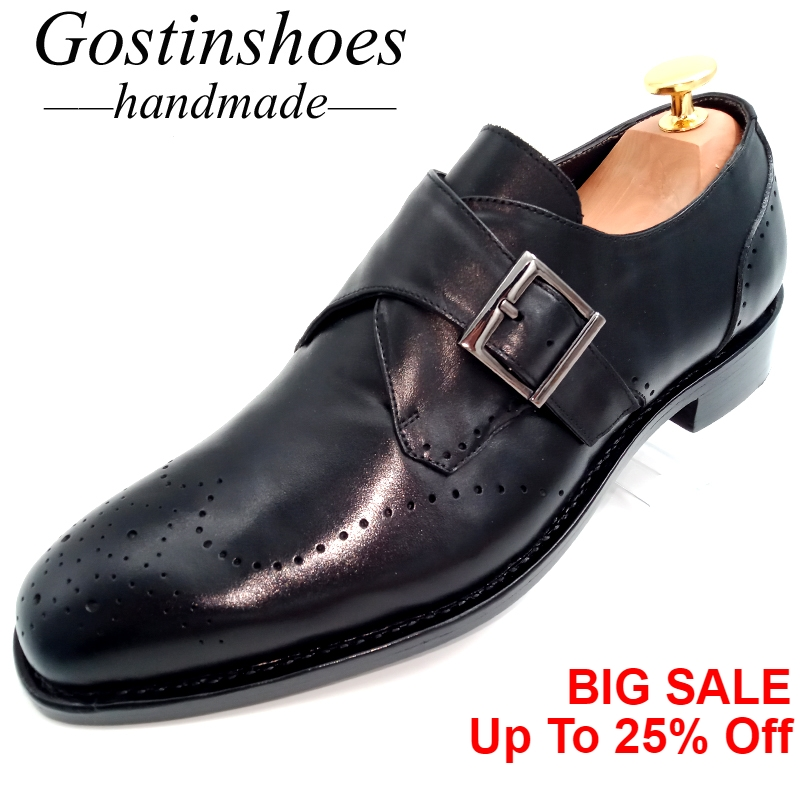 GOSTINSHOES HANDMADE Goodyear Welted Mens Brogues Derby Shoes Black Leather Single Buckle Strap for Office Wedding GSTN21