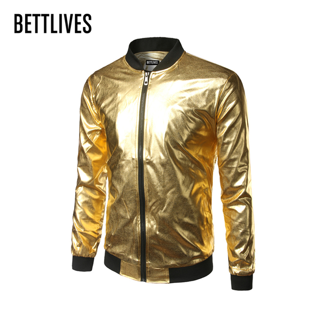 Online Shop Nightclub Style Mens Metallic Gold Shiny Bomber Jacket ...