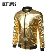 Nightclub Style Mens Metallic Gold Shiny Bomber Jacket Mens Coat Homme Casual Lightweight Baseball Varisty Jacket Fashion VB1186