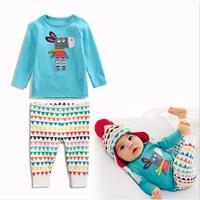 Neue Frühling Herbst babykleidung Jungen Langarm Cartoon Esel Mädchen Baumwolle Beiläufigen Satz Neugeborenen Kleidung