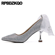 e5caf03d40 medium heels shoes crystal sparkling metal red party silver rhinestone size  33 3 inch pumps high