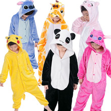 Kigurumi Onesie Kids Animal Panda Children Flannel Pajamas Cartoon Boys Girls Birthday Party Cosplay Pyjama Sleepwear 85-165cm