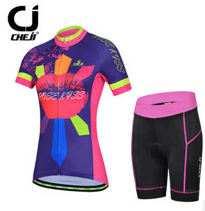 CHEJI Rose Kiss Womens Short Sleeve Bike Jerseys MTB Clothing Cycling Jackets Trouser Sets