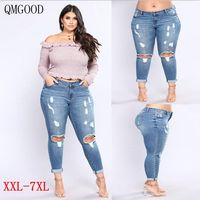 QMGOOD Ripped Jeans Women Big Size Hole Torn Jeans Woman Large Size Stretch Jeans Tights Female Pants 2018 Plus Size Streetwear