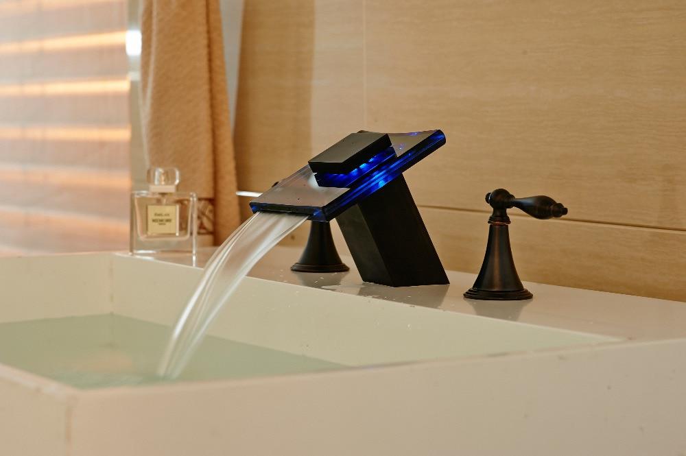 Новый бортике масло втирают бронзовый кран led раковина бассейна смеситель двойной ручки