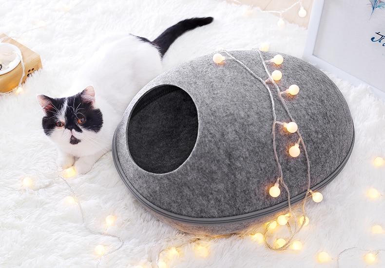Cat Bed, Felt Egg Shaped Nest
