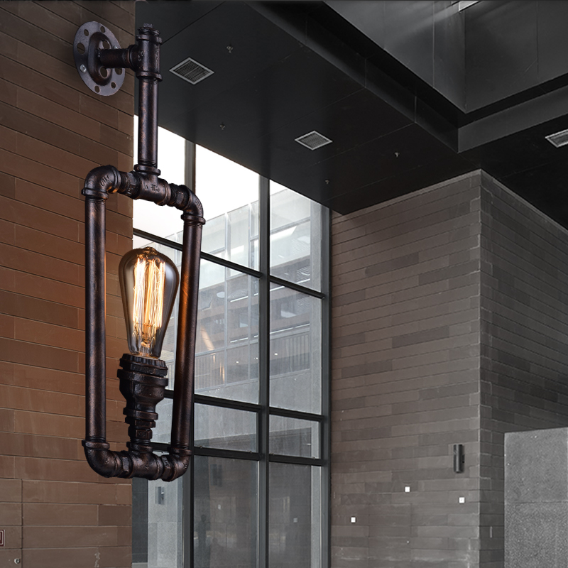 Vintage industrial creative personality water pipe wall lamp Bar Cafe restaurant dining room living room pub Wall light industrial water pipe pendant lamp loft bar club dining room pub cafe restaurant industry retro lighting personality chandelier