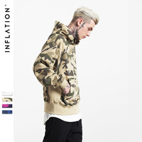 INFLATION 2017 Winter New Collection Men Hoodies Thick Velvet Fabrics Streetswear Hip Hop Camouflage Winter Hoodies