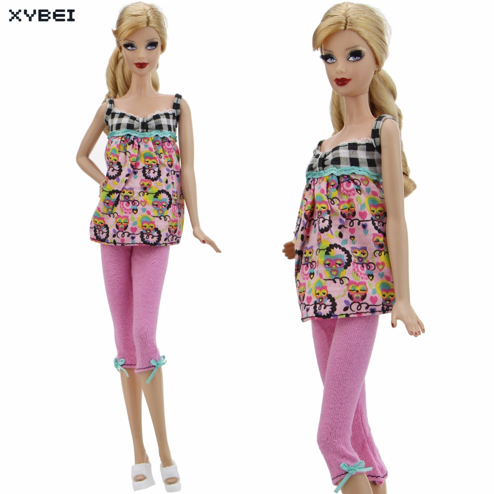 Fashion Owl Pattern Outfit Summer Sexy Daily Wear Gallus Tops Pink Pants Trousers Clothes For Barbie Doll DIY Accessories Gifts the daily village perfect canada white skirt turquoise barely there tops wear hollywood miss picture universe panache bikini