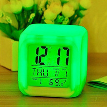 LED Alarm Colock 7 Colors Changing Digital Desk Gadget Digital Alarm Thermometer Night Glowing Cube led Clock Home Decor TSLM1