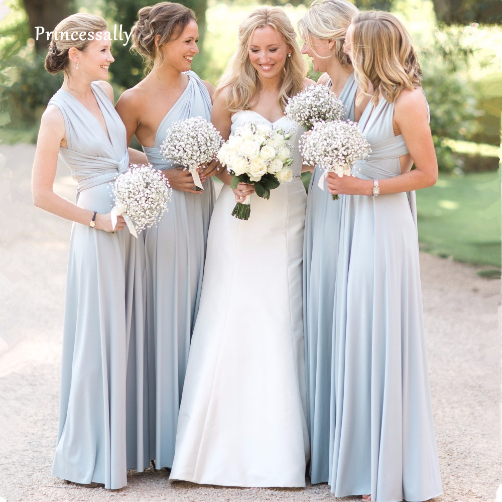 New Light Blue Covertible Bridesmaid Dresses Pleated Floor length Country Beach Wedding Guest Party Gowns Cheap Long Prom Dress(China)
