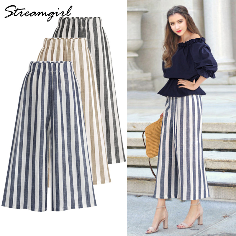 Summer High Waist Cotton Linen   Pants   With Stripes Women   Wide     Leg     Pants   Plus Size Women Linen Striped Trousers   Wide     Leg   Cotton