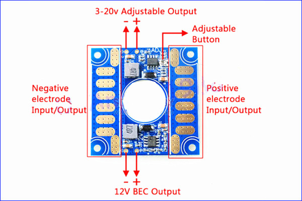 ФОТО 1pcs ESC Connection Plate Board 5V 12V Voltage Adjustable BEC O1pcs ESC Connection Putput for FPV Aerial Photography MultiCopter
