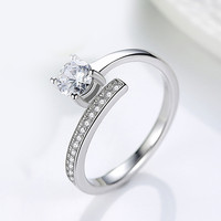 New 100 Sterling Silver Luxury Sparkling Ladies Engagement Ring In Sterling Silver