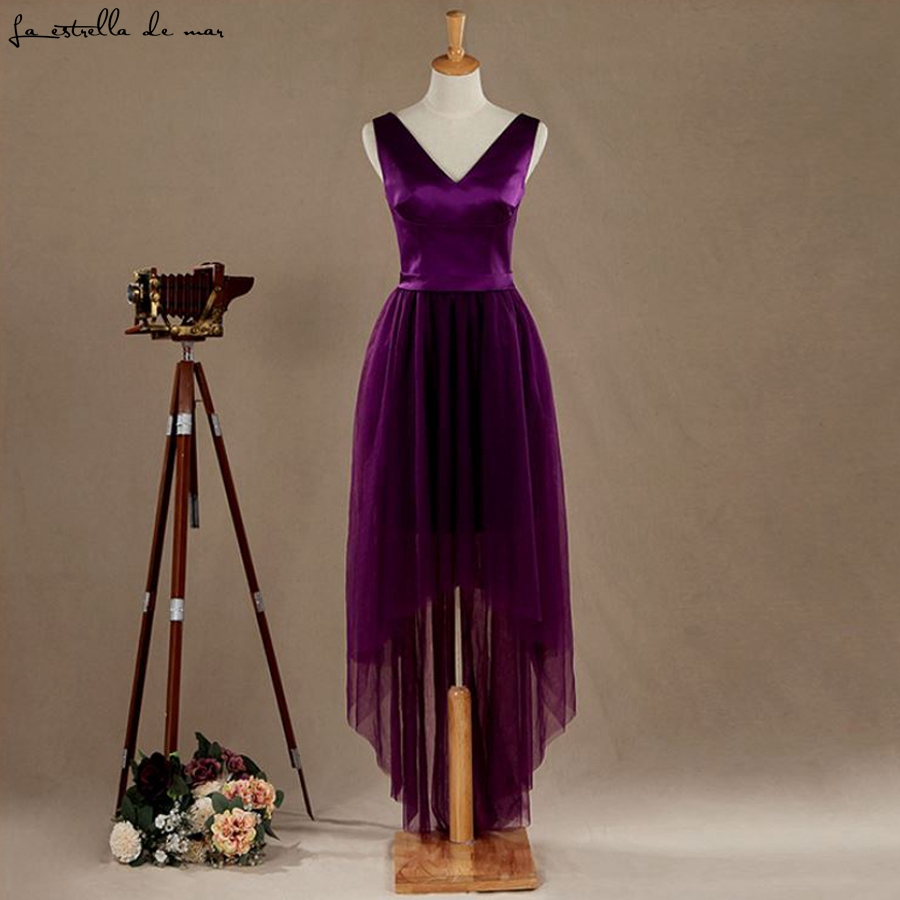 Robe demoiselle d'honneur new sexy V-neck satin tulle High Low purple   bridesmaid     dresses   long real photo wedding guest   dress