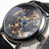 New Winner Brand Casual Men Women Gift Classic Skeleton Colock Leather Strap Automatic Self Wind Mechanical Wrist Watch