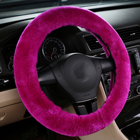 Australian Wool Car Steering Wheel Cover Winter Women Girl Real Warm Plush Auto Accessories Interior Christmas