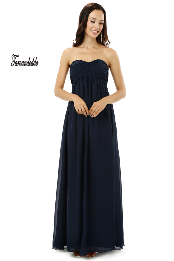 Strapless Ruched Empire Waistline Black Chiffon Long Bridesmaid