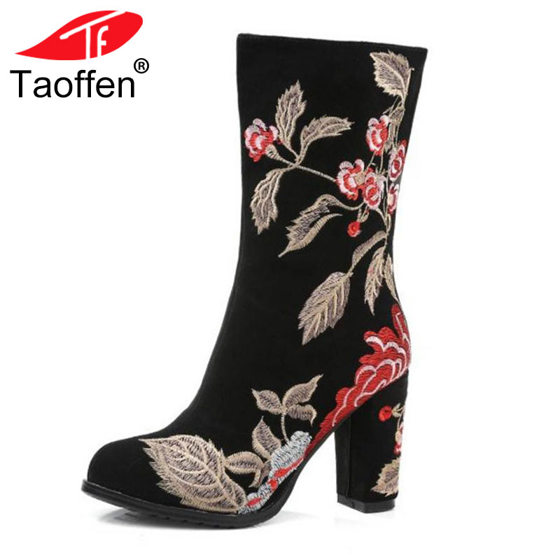 TAOFFEN Brand Winter Boots For Women Real Leather Thick High Heel Half Short Boots Women Embroidery Flower Warm Botas Size 34-39TAOFFEN Brand Winter Boots For Women Real Leather Thick High Heel Half Short Boots Women Embroidery Flower Warm Botas Size 34-39