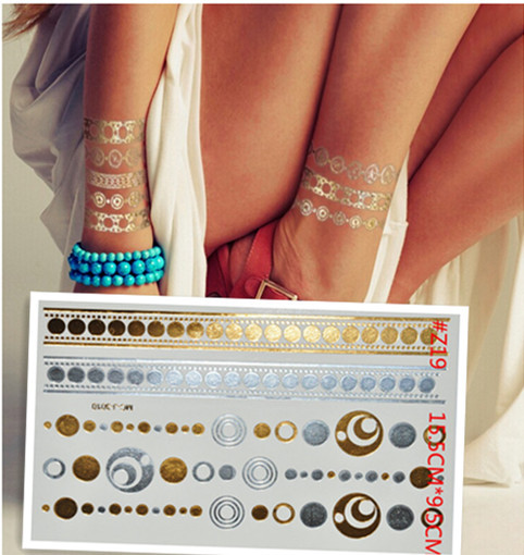 Diy Circle Necklace Gold And Silver Glitter Tattoo Disposable Disposable Tattoo Body Art Tattoo Wholesale Gold