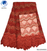 BEAUTIFICAL red mesh lace fabric embroidered laces quality color with rhinestones water soluble ML41N40